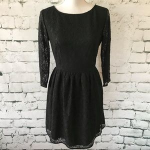French Connection Black Lace Sheer Sleeve Size 8